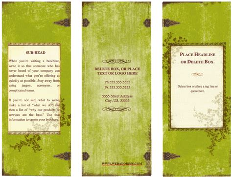 weathered tri fold brochure template for pages free