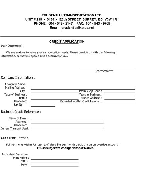 Commercial Credit Letter Business Credit Reference Template Free Printable Documents