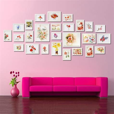 bedroom wall picture collage luxury white 26pcs photo frame picture wall mounted wood