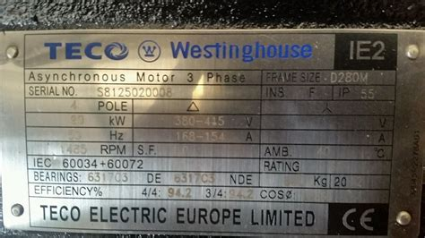 teco westinghouse kw  phase electric motor rpm