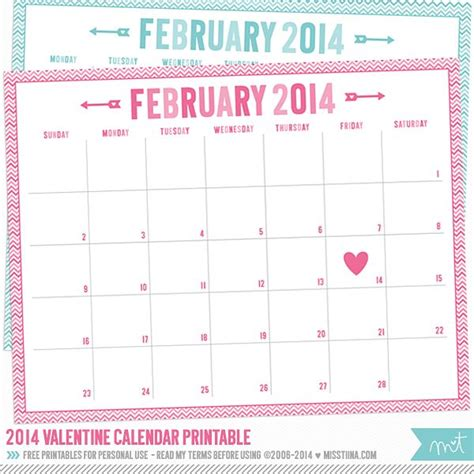 printable valentine calendar 14 days of free valentine s printables day 1 february