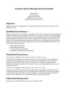 Sle Resume Objectives For Customer Service by Customer Service Manager Resume Student Resume Template