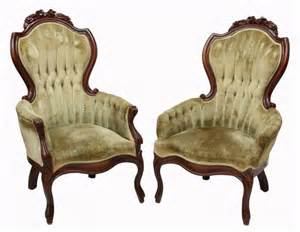 Montgomery Upholstery 2 Victorian Style Arm Chairs Lot 330