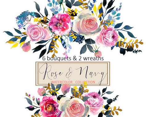 Watercolor Flowers Digital Clipart PNG Bouquets Peonies Roses Floral Wedding Clip Art Set Coral