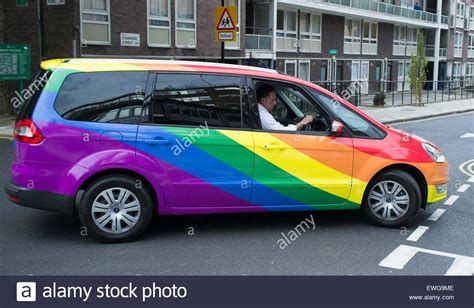 rainbow cars london uk 25th june 2015 taxi company addison lee have