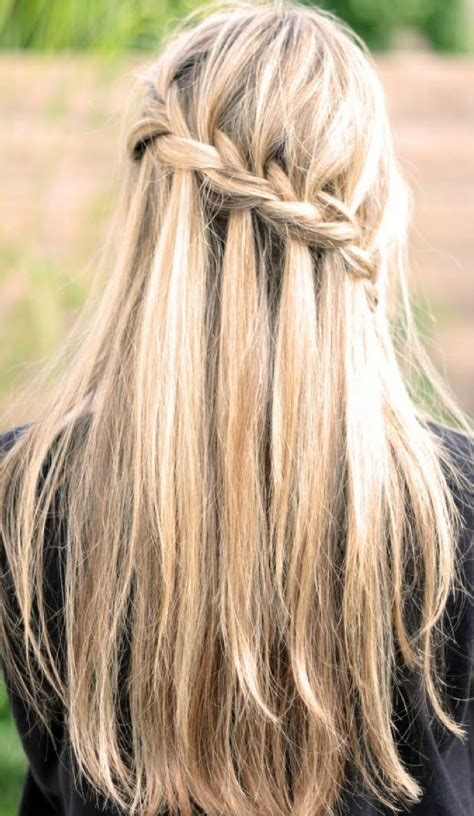 hairstyles for long straight hair with braids waterfall braid for long straight hair back view