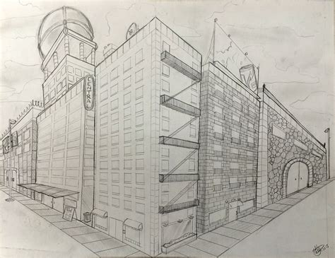 Drawing 2 Point Perspective Buildings by Two Point Perspective Building Drawing At Getdrawings