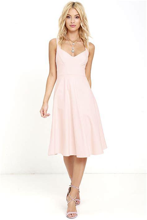 Pink Flow Dress Qif chic blush pink dress midi dress fit and flare dress 59 00