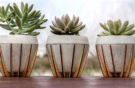 plants and planters la morena plant pot by shift cast concrete in a laser cut wood cradle homeli
