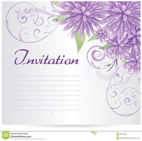 purple birthday card template invitation template blank with purple abstract flowers