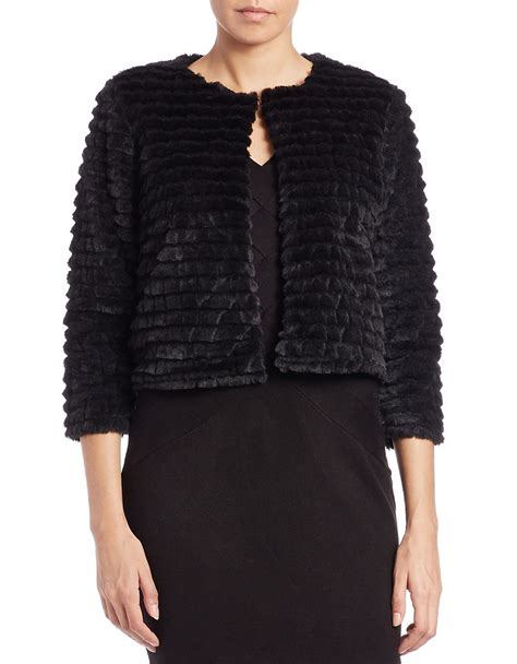 Cropped Fur Jackets by Calvin Klein Cropped Faux Fur Jacket In Black Lyst
