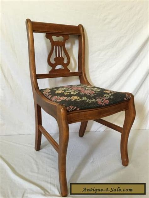 beautiful antique vintage needlepoint wood harp lyre chair  sale  united states