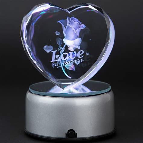laser engraved crystal with lighted led base 3d laser crystal heart subsurface engraved love forever