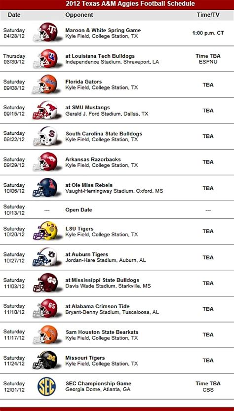 section 2 football schedule texas a m aggies football team 2012 schedule texas a