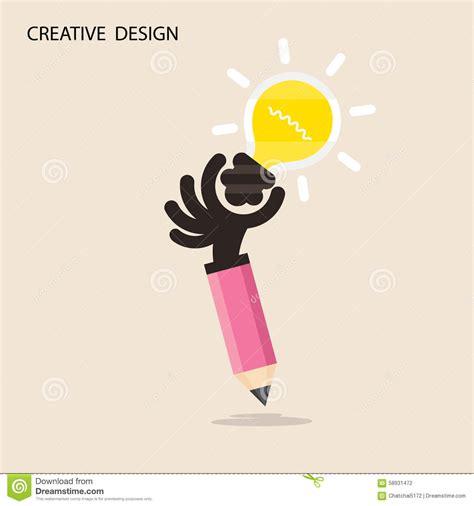 design idea patent creative bulb light idea and pencil hand icon flat design