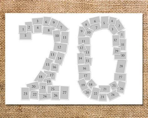 photo collage number templates digit number photo collage printable 20 30 40 50