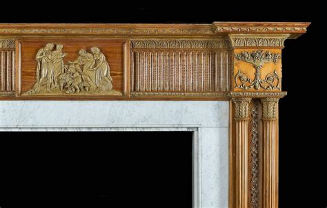 large antique pine and gesso georgian fireplace mantel