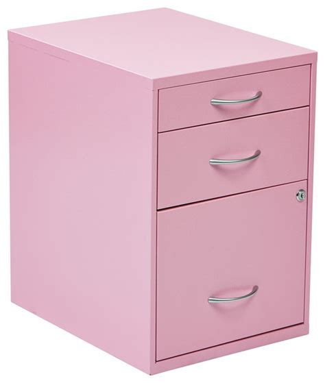 Pink Filing Cabinet 22 Quot Pencil Box Storage File Cabinet Pink Contemporary Filing Cabinets By Efurniture Mart