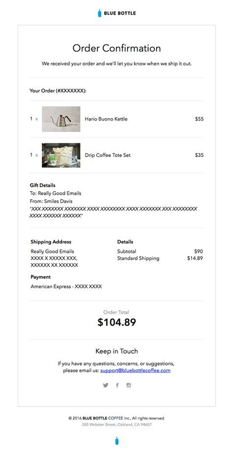 Swipe 10 Ecommerce Email Templates 20 Real Exles Order Confirmation Email Template