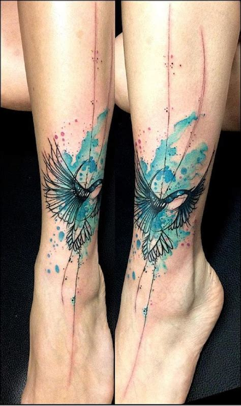watercolor hummingbird tattoo watercolor blue and black hummingbird on the ankle