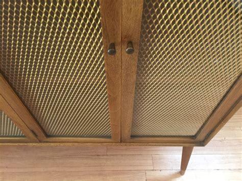 MCM Decorative Walnut Display Cabinet with Bronze Wire Mesh Screen   EPOCH