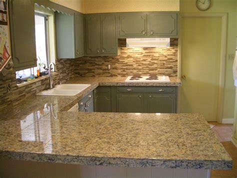 Glass Tile Kitchen Countertop by Kitchen Granite Tile Countertop And Glass Backsplash
