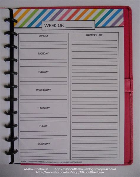 printable editable menu planner weekly meal planner printable rainbow stripe menu planner