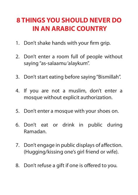 Things You Should Do by Eight Things You Should Never Do In An Arabic Country