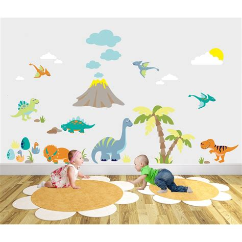 dinosaur wall stickers deluxe dinosaur nursery wall sticker