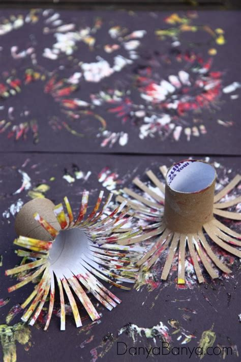 Paper Fireworks Crafts - easy fireworks painting for danya banya