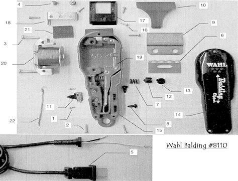 wahl clipper parts diagram wahl balding clipper parts list