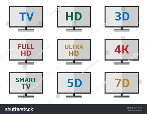 format video hd tv format icon set full hd stock vector 231545347