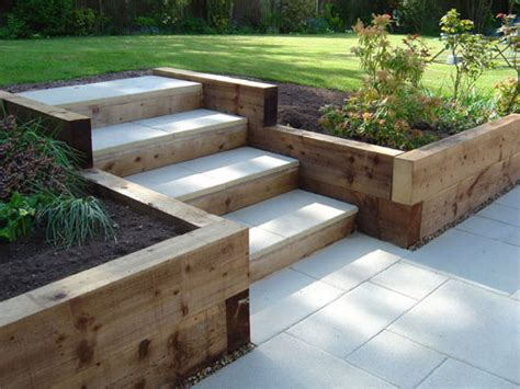 Garden Step Ideas Sleeper Retaining Walls And Pavior Capped Steps For The
