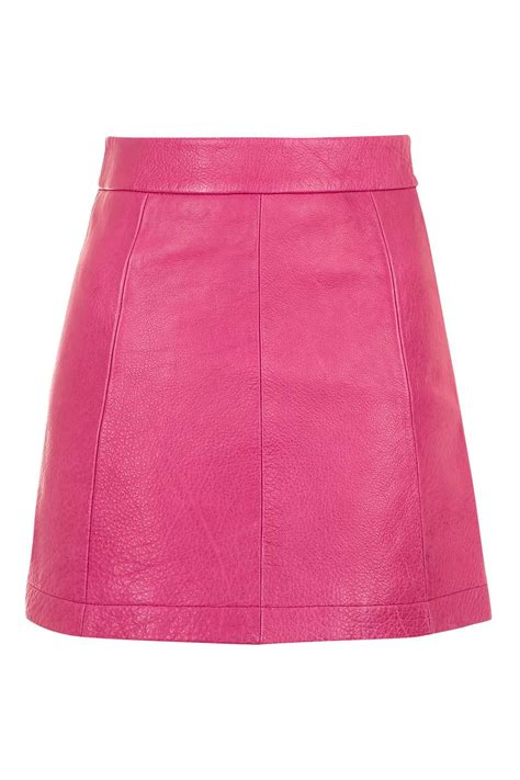 pink leather a line skirt topshop