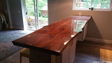 handmade custom 11 foot live edge walnut bar top by
