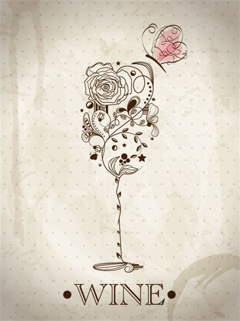 christmas wine vintage designed by arcadia floral home hand drawn retro flower decoration background vector free