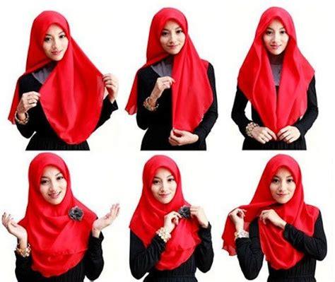 tutorial jilbab segi empat kerja cara memakai jilbab segi empat anggun dan simpel https