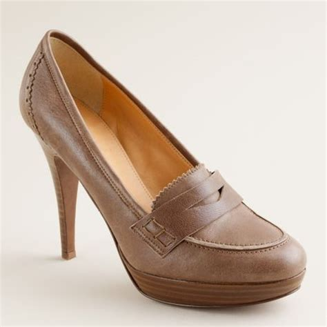 brown heeled loafers j crew biella high heel loafers in brown warm brown lyst