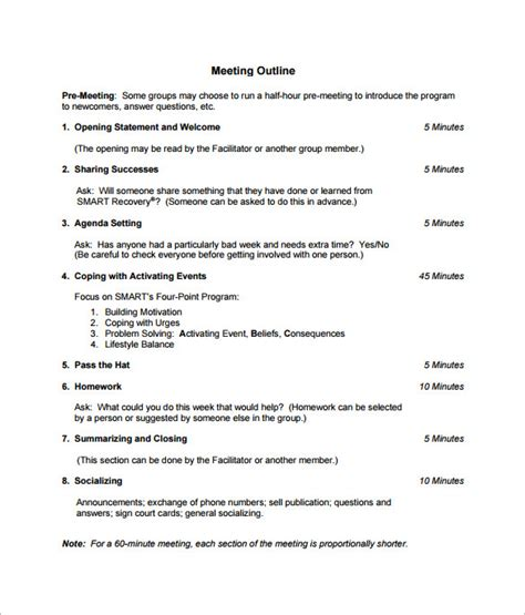 9 Meeting Outline Template Doc Pdf Free Premium Templates How To Run A Meeting Template