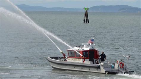 bellingham firefighters training on new 1m fire boat - Fire Boat Nozzle