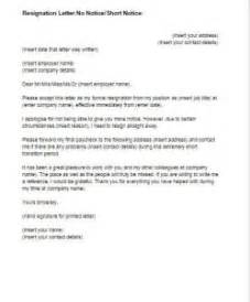No Notice Resignation Letter by Resignation Letter No Notice Template Just Letter Templates