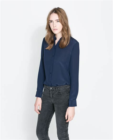 Blouse Jumbo Zara Puff By Enter zara blue silk blouse collar blouses