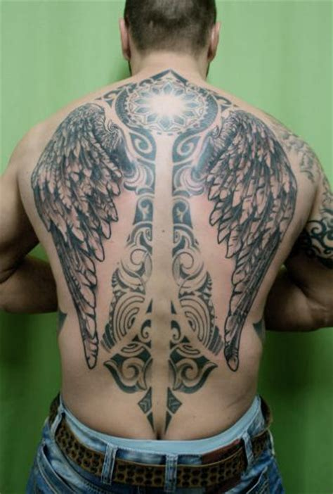 full back mandala tribal wings tattoo by skin deep art