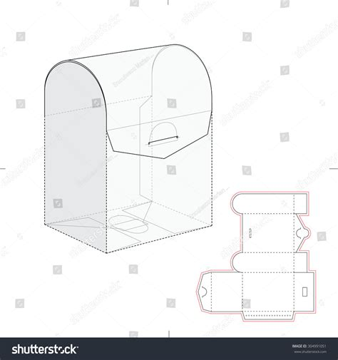 curved top retail box blueprint template stock vector