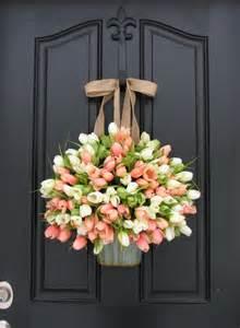 Wreaths For Front Doors Tulips Farmhouse Door Wreaths Tulips S Day By Twoinspireyou
