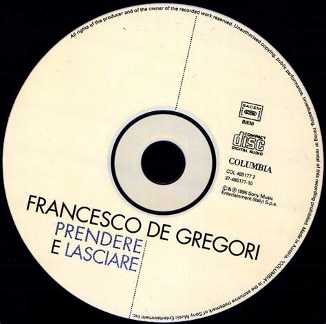 de gregori all the best copertina cd francesco de gregori prendere e lasciare