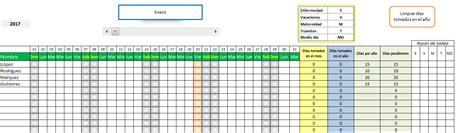 plan de vacaciones empleados planilla de excel de calendario de vacaciones de empleados