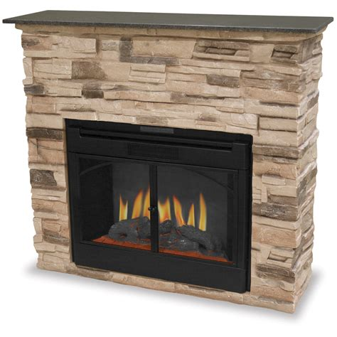 Indoor Electric Fireplace W Stacked Stone Surround