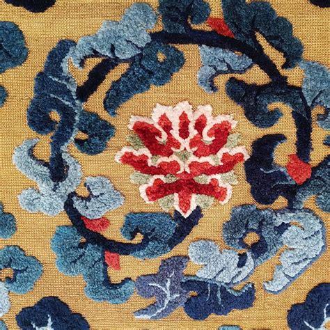 lotus flower rug silk and metallic thread rug with lotus flowers at 1stdibs
