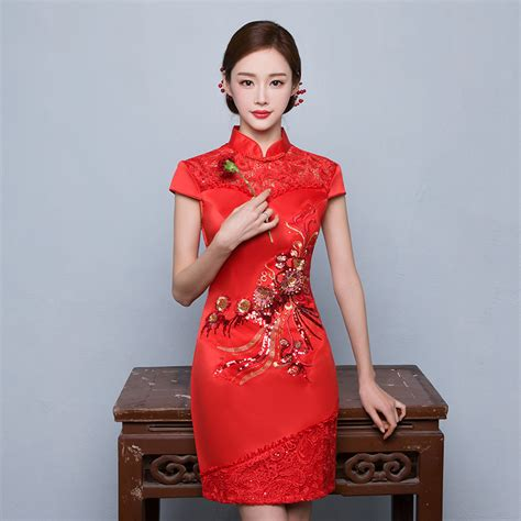 traditional chinese cheongsam dresses traditional chinese dress bride wedding qipao mini sexy